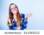 woman confused thinking seeks a ... | Shutterstock . vector #611583212