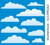 clouds set on blue sky... | Shutterstock .eps vector #611590262