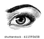 hand drawn beautiful female eye ... | Shutterstock .eps vector #611593658