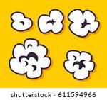 popcorn set. black and white... | Shutterstock .eps vector #611594966