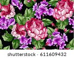 floral baroque pattern with... | Shutterstock .eps vector #611609432