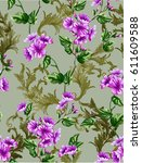 classic rococo flower patter... | Shutterstock .eps vector #611609588