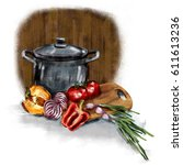 illustration kitchen....   Shutterstock . vector #611613236