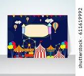 carnival funfair background... | Shutterstock .eps vector #611619992