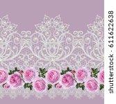 seamless pattern border.... | Shutterstock . vector #611622638