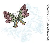 beautiful butterfly and floral... | Shutterstock .eps vector #611633936