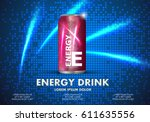 energy drink on sparkly and... | Shutterstock .eps vector #611635556