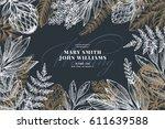 floral wedding invitation.... | Shutterstock .eps vector #611639588