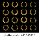 set of gold silhouette circular ... | Shutterstock .eps vector #611641352