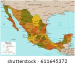 mexico map with selectable... | Shutterstock .eps vector #611645372