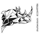 rhinoceros stylized triangle... | Shutterstock .eps vector #611649986