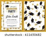 graduation party vector... | Shutterstock .eps vector #611650682