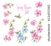 awesome collection of spring... | Shutterstock . vector #611651342