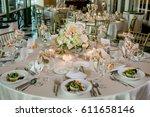 classy wedding setting.table... | Shutterstock . vector #611658146