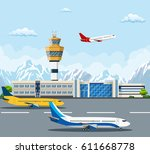 airport building and airplanes... | Shutterstock .eps vector #611668778