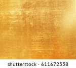 shiny yellow leaf gold foil... | Shutterstock . vector #611672558