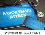 Small photo of Paroxysmal attack (neurological disorder) diagnosis medical concept on tablet screen with stethoscope.