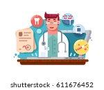 service online doctor | Shutterstock .eps vector #611676452