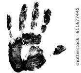 handprint human hand  scanning... | Shutterstock .eps vector #611677442