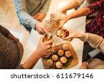 high angle shot of a friends... | Shutterstock . vector #611679146