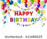 blue birthday card | Shutterstock .eps vector #611680625