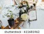 on the served buffet table... | Shutterstock . vector #611681462
