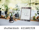 on a serving buffet table there ... | Shutterstock . vector #611681528