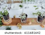 on a serving buffet table there ... | Shutterstock . vector #611681642