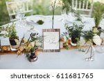 on a serving buffet table there ... | Shutterstock . vector #611681765