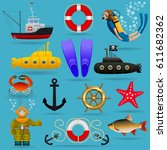 marine set of objects and... | Shutterstock .eps vector #611682362