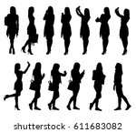 collection of different young... | Shutterstock .eps vector #611683082