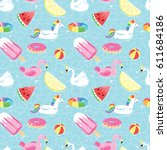 seamless pattern with summer... | Shutterstock .eps vector #611684186