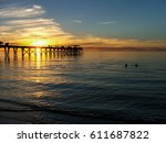 a beautiful  orange sunset... | Shutterstock . vector #611687822