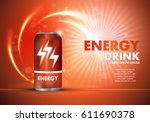 energy drink on sparkly and... | Shutterstock .eps vector #611690378
