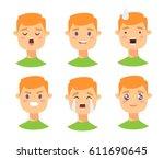 set of male emoji characters.... | Shutterstock .eps vector #611690645