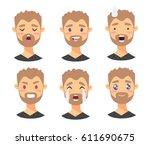 set of male emoji characters.... | Shutterstock .eps vector #611690675