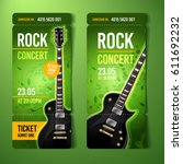 vector rock festival ticket... | Shutterstock .eps vector #611692232