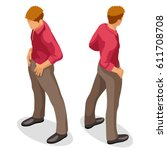 isometric people 3d flat man... | Shutterstock .eps vector #611708708