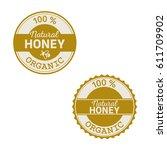 set of honey organic product... | Shutterstock .eps vector #611709902