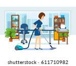 woman cleaning room. girl ... | Shutterstock .eps vector #611710982
