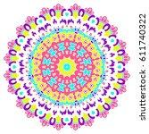mandala. vector ethnic oriental ... | Shutterstock .eps vector #611740322