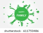 green background happy family... | Shutterstock .eps vector #611753486