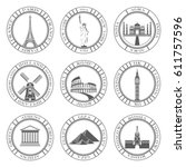stickers and icons of travel. ... | Shutterstock . vector #611757596