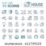 set line icons in flat design...   Shutterstock . vector #611759225