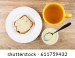 sandwich from muffin with... | Shutterstock . vector #611759432