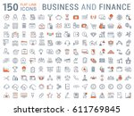 set  line icons in flat design... | Shutterstock . vector #611769845