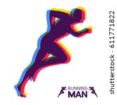 silhouette of a running man.... | Shutterstock .eps vector #611771822