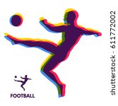 football player with ball.... | Shutterstock .eps vector #611772002