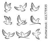 dove set. vector | Shutterstock .eps vector #611775935