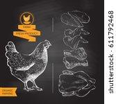 fresh chicken meat. top view.... | Shutterstock .eps vector #611792468